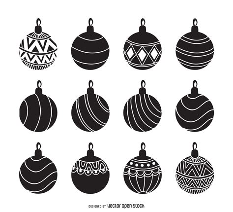 christmas ornament silhouette set vector download