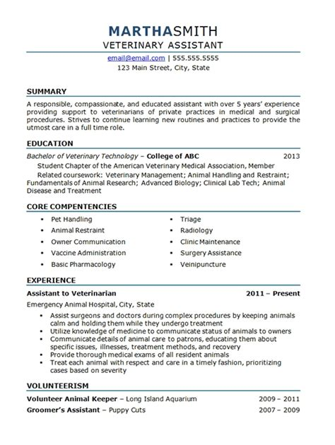 Vet Assistant Resume Skills by Veterinary Resume Exles Best Resume Gallery
