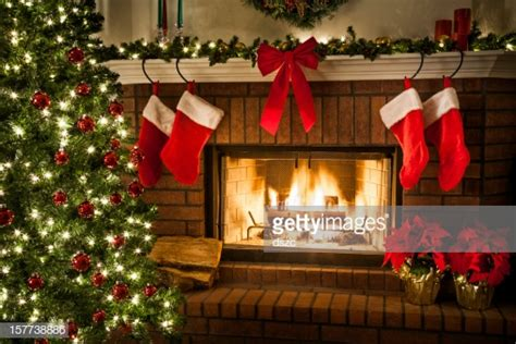christmas fireplace tree  decorations stock photo