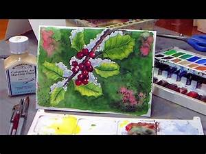 How To Paint Holly in Watercolor Christmas Card Idea
