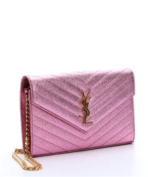 saint laurent pink metallic matellasac leather monogram