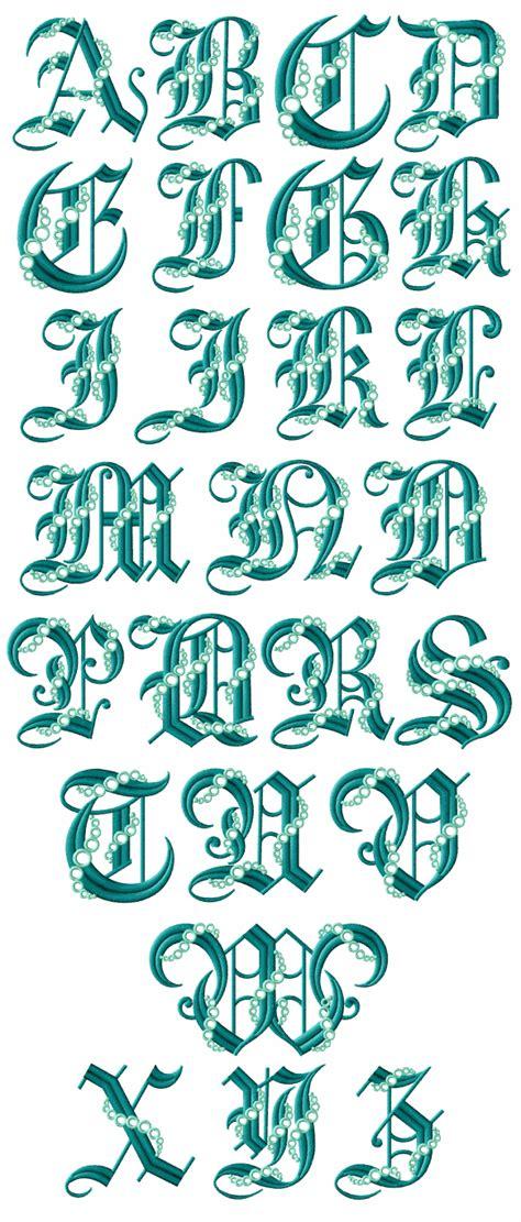seafoam gothic alphabet