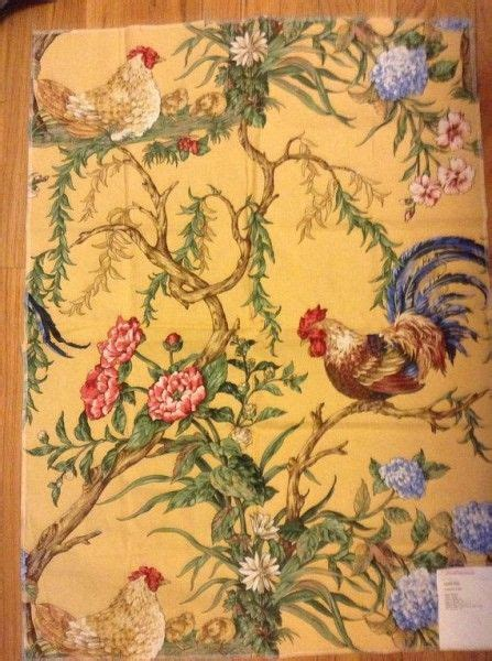 country kitchen fabric country rooster fabric chanticleer by scalamandre 2793