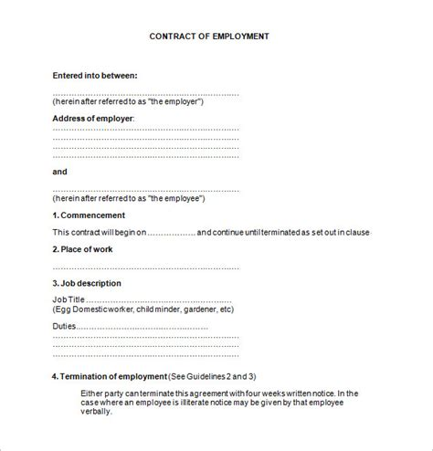 employment contract template 17 contract templates free word pdf documents free premium templates