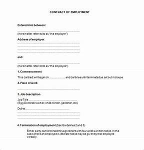 17 job contract templates free word pdf documents With template of a contract of employment