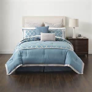 cannon 8 piece jacquard frete comforter set soft blue