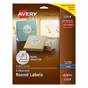 Avery easy peel emobossed labels 22824 2 diameter silver for Avery large round labels