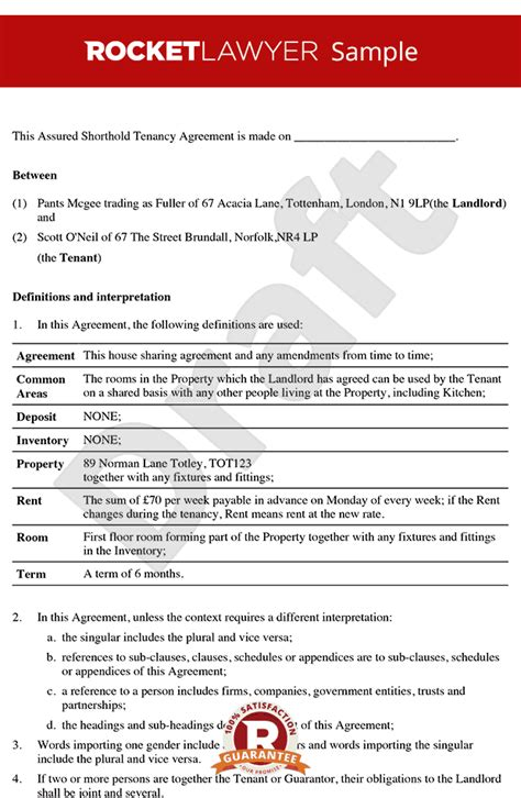 sample  lease agreement  renting  room charlotte