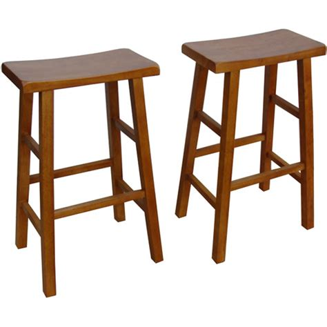 walmart bar stools mainstays saddle bar stools 29 quot set of 2 walnut walmart com