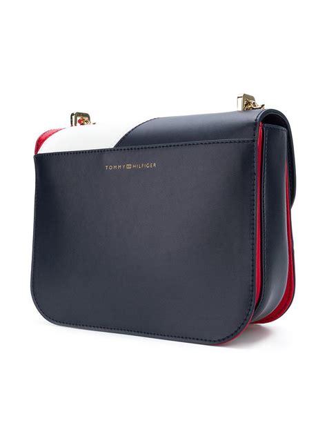 tommy hilfiger leather diagonal stripe crossover bag lyst
