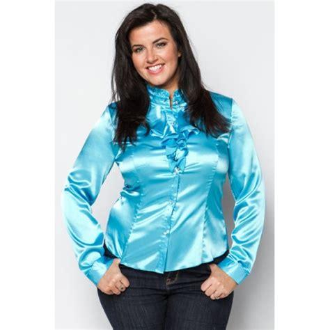 satin blouse blue ruffle neck satin blouse plus size satin 1