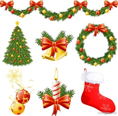 4 designer christmas decorative items vector