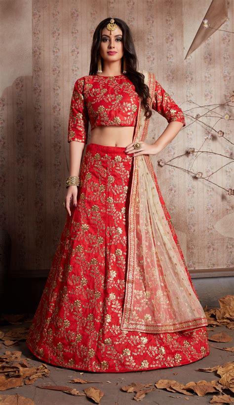 indian dress red color bridal lehenga