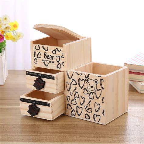 cute desk accessories bear wooden pen holder kawaii desk tidy organizer pencil