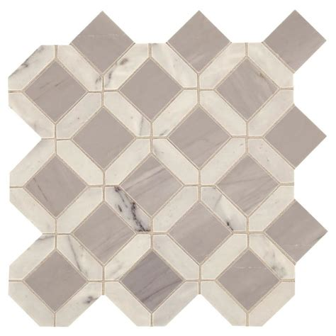 Marble Mosaic Tile by Shop American Olean Genuine White And Gray Marble