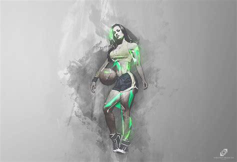 women basketball sport running run ball abstract