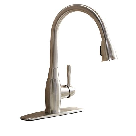 aquasource kitchen faucets shop aquasource brushed nickel 1 handle pull kitchen