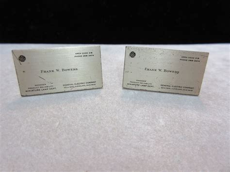 Electric Card by Ge General Electric Business Card Cufflinks 1950 S Ebay