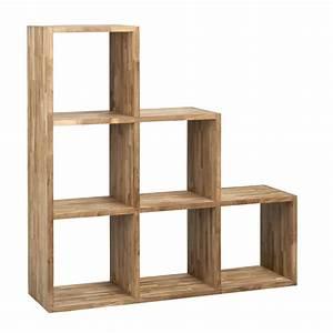 Etagere 6 Cases : etag re escalier 6 cases en teck trendy les biblioth ques biblioth ques tag res et ~ Teatrodelosmanantiales.com Idées de Décoration