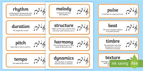 Children will build their knowledge of basic music techniques through a set of fun. Elements of Music - Flashcards | Resources | Twinkl