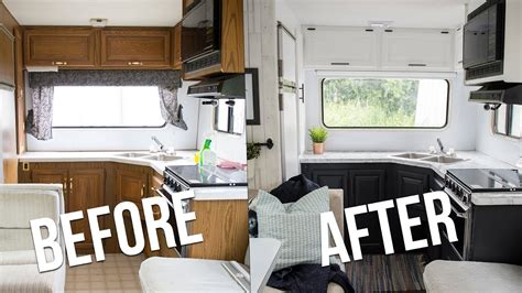 painting rv cabinets our diy cer kitchen reveal how to paint oak cabinets