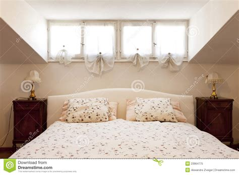 small loft furnished bedroom royalty  stock photo
