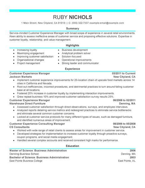 retail customer service manager resume best customer experience manager resume exle livecareer