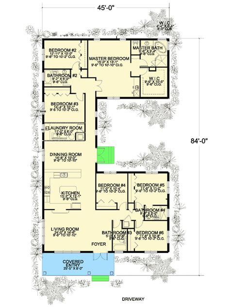 bedroom  shaped house plan aa architectural designs house plans