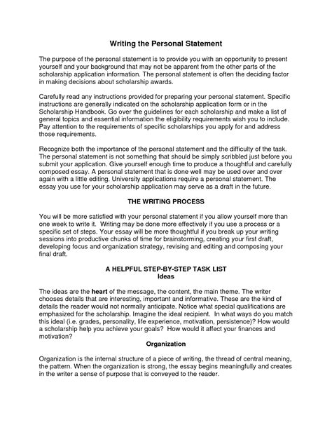 How To Write A Personal Statement For by Writing A Personal Statement Sle