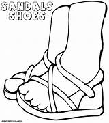Shoes Coloring Sandals Colorings sketch template
