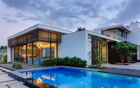 2 story house with pool contemporary new delhi villa with amazing courtyard and water features