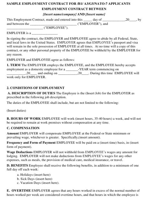 Sample Employment Contract Template for /B1/A3/G5/NATO-7 Applicants Download Printable PDF