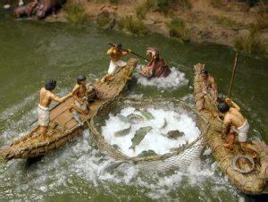 egyptian fishing hooks fishermen reed rafts wooden boats