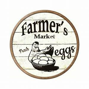 Vintage, Tin, Signs, Farmer, U0026, 39, S, Market, Fresh, Eggs, Round, Painting, Retro, Gift, Metal, Sign, Plaque, Wall