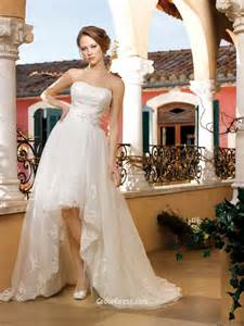 wedding dresses high low strapless satin and tulle high low wedding dress with belt groupdress