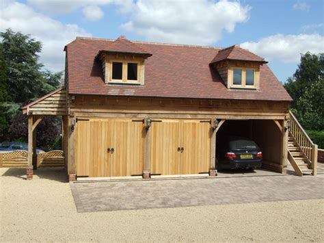 Oak Country Buildings With Big Wood Garage Kits, And Red