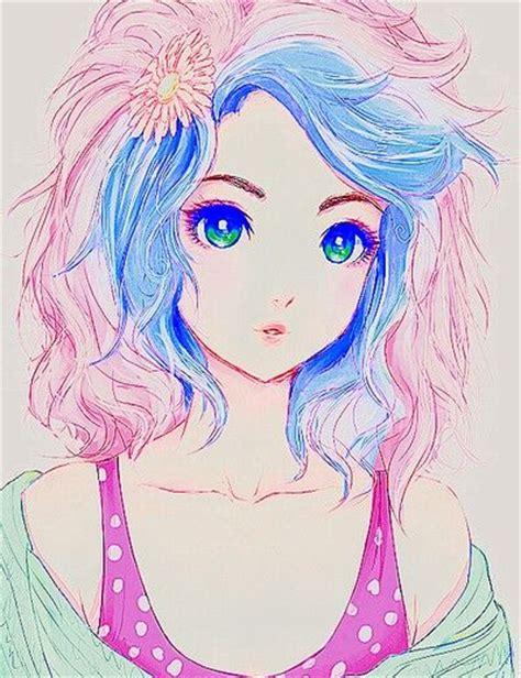 anime girl  pink  blue hair females pinterest