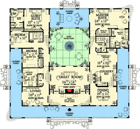 style homes with interior courtyards villas designs بحث house plans