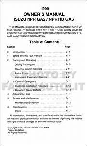 New 1999 Isuzu Npr Gas Truck Owners Manual Original Oem