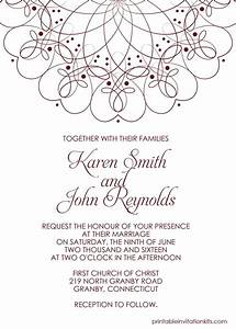 spiral border invitation free pdf template for weddings With free wedding invitation templates 5 5 x 8 5