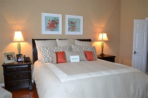 neutral master bedroom  pops  color contemporary
