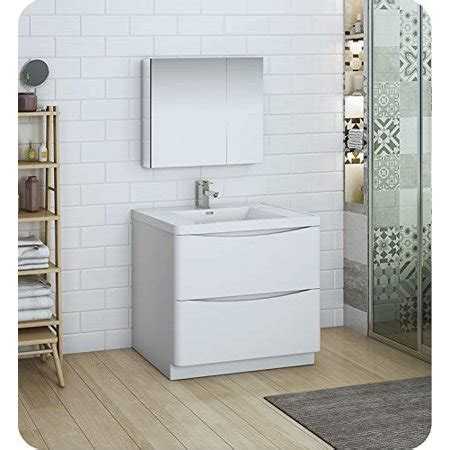 Freestanding Medicine Cabinet by 36 Quot Glossy White Free Standing Modern Bathroom Vanity W