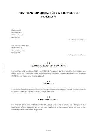praktikumsvertrag erstellen smartlaw
