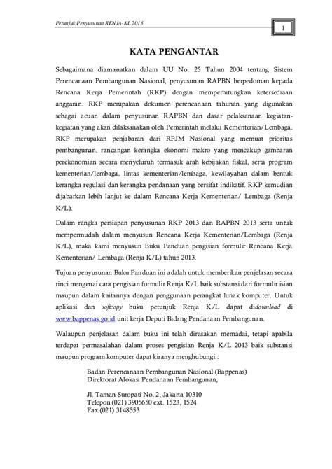 Petunjuk penyusunan renja 2013