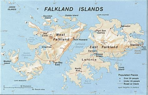 Mapa físico de las Islas Malvinas Gifex