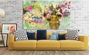 Tableau Contemporain Grand Format : quel tableau contemporain dans un int rieur jaune ~ Teatrodelosmanantiales.com Idées de Décoration