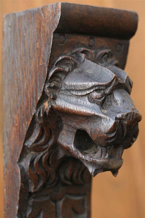 superb thc gothic wooden oak lion head corbel