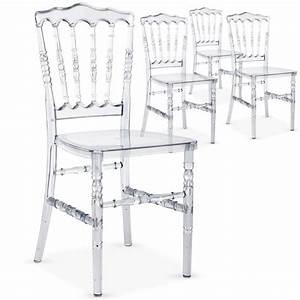 Chaise Plastique Transparente : lot de 4 chaises napoleon plexi transparent achat vente chaise cdiscount ~ Melissatoandfro.com Idées de Décoration