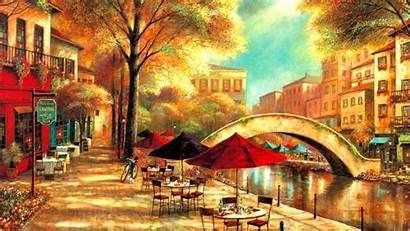 Wallpapers Cafe Painting Modern Riverwalk Desktop Waterway