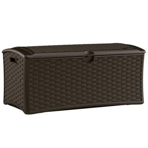 Suncast Deck Box Home Depot by Suncast 72 Gallon Resin Wicker Deck Box Dbw7000 The Home